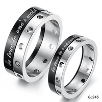 be true to one's wold--Valentine's Day gift Titanium Steel Real feeling black Korea lovers couple ring gj246 black