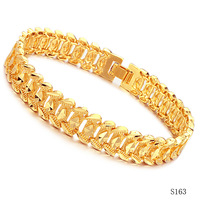 Fashion jewelry OPK 18k gold plated men's bangles 11mm width chain link honorable male bracelet ks163