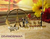 Min.order 15$ mix Pretty retro Let 's Date Eiffel Tower carousel charm pendant necklace