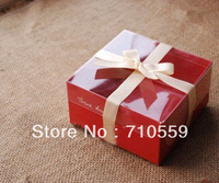 Cake box Red transparent PVC cover pastry cake box