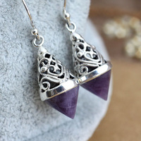 925 silver handmade pure silver inlaying natural amethyst carved earrings earring