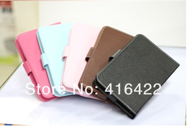 100pcs 7 inch Leather Case Cases for Android Tablet PC Ainol NOVO 7 Aurora VIA8650 Epad Netbook 10Color(China (Mainland))