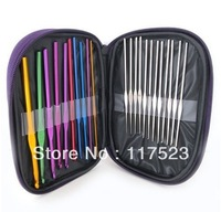 Free shipping 22pcs Aluminum Crochet Hooks Needles Knit Weave Stitches Knitting Craft Case