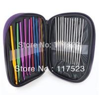 Free shipping 22pcs Aluminum Crochet Hooks Needles Knit Weave Stitches Knitting Craft Case