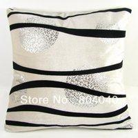 "Cream White Throw Pillow Case Decor Cushion Cover Square 18"" / 45cm Flocking Black Stripes Silver Print Cotton Polyester PJ42"