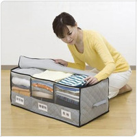 Hot! Free Shipping Storage Box  Storage Bag Received Box Big Bamboo Charcoal With Windows Clothing  Holder Q00822