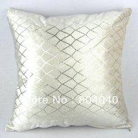 "Handmade Cotton Polyester Throw Pillow Case Decor Cushion Cover Square 18"" / 45cm Shining Rhombus Sequin Print Cream White PJ07"