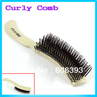 New Hairdress Plastic Handle Round Teeth DIY Wavy Curly Straight Hair Style Comb Free Shipping