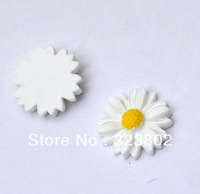 20MM Flatback Resin Cabochon White Sunflower Cell Phone Case DIY Handmade Decoration Accessory 30PCS