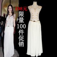 Angelababy fashion full dress embroidery chiffon white long design one-piece dress