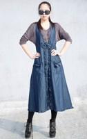 Stylish Sexy Deep V Neck Bowknot Embellished Jean Sundress Fashion Women's Casual Dress Blue
