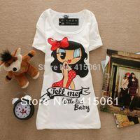 New Fashion Good Quality Women T Shirt Sexy Girl  Cotton Lady Tops Free Shipping,1154
