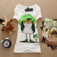 HOT 2014  New Fashion Good Quality Women Short Sleeve T Shirt  Owl Cotton Tops,1158