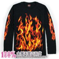 Autumn men's clothing long-sleeve T-shirt fashionable casual loose plus size sympathize flame basic shirt
