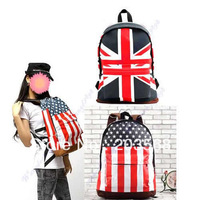 Hot! Unisex Canvas UK US Flag Handbag Teenager School Bag Book Campus Backpack