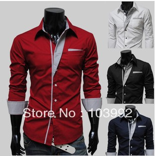 Men&#39;s shirt good quality Fashion Korea long sleeve Slim Fit dress shirts 4colors M L XL XXL(China (Mainland))