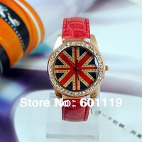 Hot Fashion Woman's Crystal Quartz Watches Watch Casual Wrist watch Dropshipping UK National Flag 1973-4 Red Wristwatches New