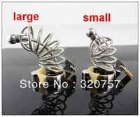 New Male Stainless Steel cock Cage+Catheter Art device toys/Large,Small/4 ring size available
