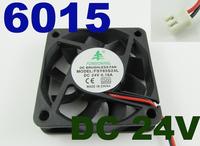 5pcs Brushless DC Cooling Fan 9 Blades DC 24V 60mm x 60mmx15mm 6015 2 Pin