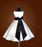 free ship,custom,birthday party, ,A-line,black sash, flower girls dresses,white