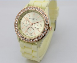 DHL Free Shipping+Fashion diamond stone Geneva watch candy jelly silicone band Unisex Quartz 11 colours watches,50pcs/Lot(China (Mainland))