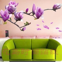 Removable Flower Home Art Decor Wall Sticker Chaste magnolia purple Mural Wall Paper Sticker supplierFree shipping 50*70cm(China (Mainland))