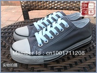 Classic canvas shoes male girls low solid color lovers canvas shoes grey