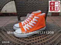 Classic canvas shoes male girls high lovers canvas shoes orange safflowers orange