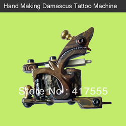 10 Wraps Handmade Damascus Steel Tattoo Machine Free Shipping(China (Mainland))