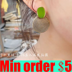 (Min order $5,can mix) Vintage Annual Ring Earrings Green Stone Leaf Retro Stud Earrings Free Shipping(China (Mainland))