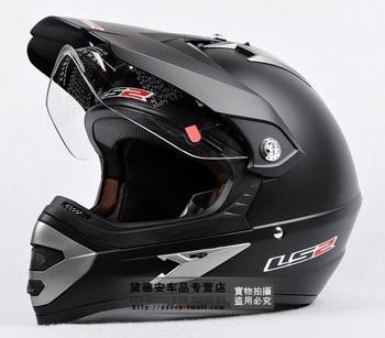 Free shipping LS2 helmet ran helmet dual-use with the lens off-road helmet motorcycle racing off-road vehicles