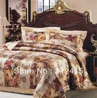 Free shipping/Free DHL EMS TNT/4pcs luxurious Silk bedding set/king queen Full Twin /ls2109