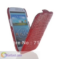 CROCODILE FLIP LEATHER HARD BACK CASE COVER FOR SAMSUNG GALAXY S 3 I9300 RED