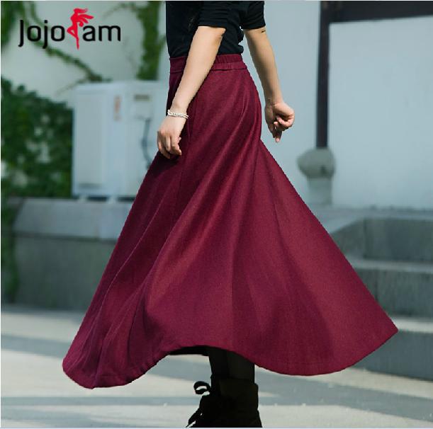 Elegant Women FashionLarge Hems Slim Vintage Wool Ankle Length Long Skirt