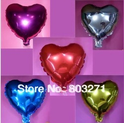 50pcs Aluminum balloon love heart weddings,party,holidays decoration balloons 10 inches -free shippin(China (Mainland))