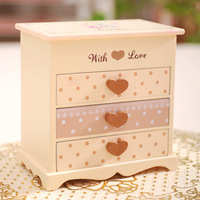 1pc+ Free shipping Hot-selling bear wooden jewelry box wool cosmetic box princess fashion gift