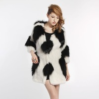 Fur coat  fox fur rabbit fur black and white two-color fur