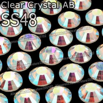 SS48 11mm,144pcs/Bag huge Clear AB Crystal DMC HotFix FlatBack Rhinestones strass,Hot Fix iron on garment crystals stones DIY