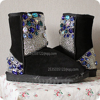 2013  luxury  diamond snow boots high quality sheepskin boots, hand made wedding shoes  Drop shipping