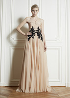 Free Shipping  One Shoulder Zuhair Murad B A Line Chiffon Lace Sleeveless Evening Dresses With Appliques  (MDEade2)