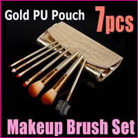 Promotions!! 7 Pcs Professional Makeup Brush Cosmetic Brushes with Gold Leather Case , Dropshipping Free Shipping Wholesale