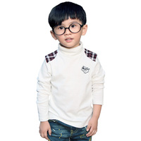 free shipping Children's clothing Color matching grid animal design spring boy T-Shirt turtleneck basic shirt long-sleeve
