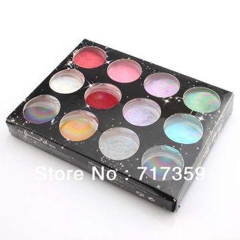 Free Shipping Flocking Powder for velvet manicure nail polish, Fashion Nail Decoration 3sets/lot 12colors   600153