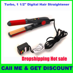 "Hot Selling!!! Ceramic Flat Iron Turbo, 1 1/2"" Digital Hair Straightener /straightening irons/hair care hot sale in Brazil(China (Mainland))"
