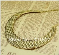 free shipping European and American fashion retro exaggerated metal texture woven Collar Necklace