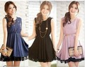 Freeshipping Charming Sleeveless Lace Flower Embellished Splicing Back Dress Light tz-HD1301