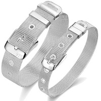 New 2013 Sterling Silver Bracelet Jewelry Sets Couple's Bracelets & Bangles Watch Belt Style 925 Silver Plated Bracelets