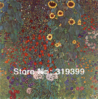 Gustav Klimt Oil Painting reproduction on Linen Canvas,Farm Garden with Sunflowers,Free fast ship,Handmade,Museam Quali