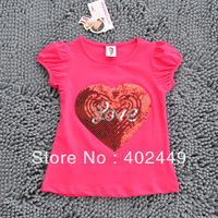 free shipping summer cotton 5pcs/lot love design paillette children t shirts teen t-shirt kids clothes girls tops