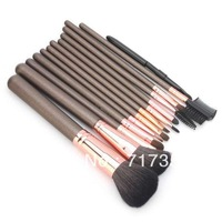 3sets/lot 13pcs/set Brown Professioal Makeup Brush Set with Black Leather Case Free Shipping AY600154
